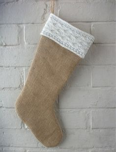 Christmas Stocking in Burlap/Hessian with Knitted by HomeDecorLab, $29.00