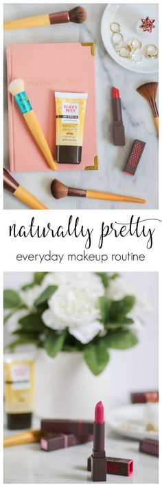 I don't like to wear heavy makeup on an everyday basis. Instead, I opt for a naturally pretty everyday makeup routine with beauty products with good-for-you ingredients that naturally enhance my skin. Today I'm sharing an easy, step-by-step everyday makeup tutorial featuring some of my favorite new natural beauty products from @BurtsBees and @EcoTools at @Walmart! Click through the pin to see the full tutorial! #NaturalBeautyFaves #ecotools #burtsbees #sponsored