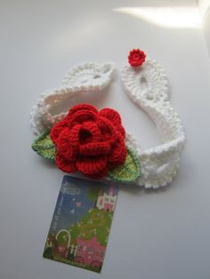 Crochet Head Bands Red RoseWhite head band with by MILAVIKIDS, $15.50