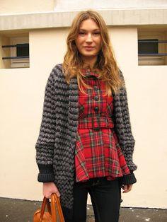 plaid peplum top/jacket with black & gray zig zag striped sweater