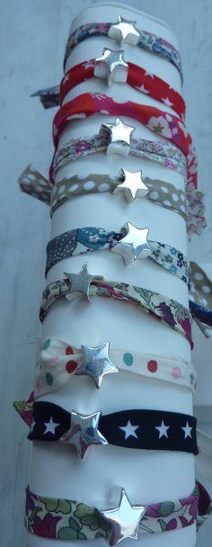 """Bracelet étoile tissu liberty (cadeau fin d'année """"merci maitresse"""") : Bijoux enfants par decokido"""