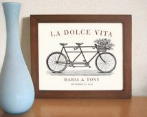 Unique Engagement 11x14 Gift Italian Wedding Decor Unique Wedding Gift Idea La Dolce Vita Bicycle for Two Bridal Shower Tandem Bicycle