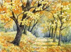 ACEO Original Miniature Watercolor Painting Fall by Elena Mezhibovsky #Miniature