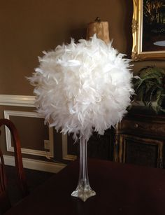 12 Feather Kissing BallWhite Feather BallFeather