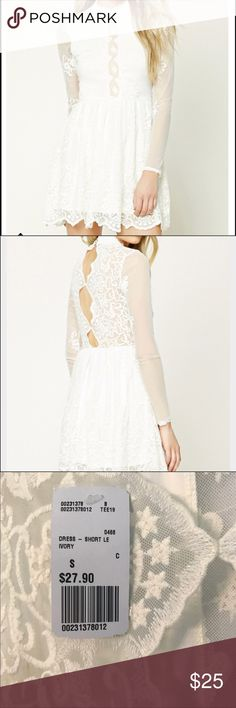F21 White lace skater dress    BNWT Brand new with tags white lace skater dress from forever 21. The coloring in the photos look more off-white due to the lighting so i added some pictures from the website. Extremely gorgeous dress! Forever 21 Dresses