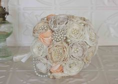 Fabric Flower Bouquet, Lace and Pearl Brooch Bridal Bouquet, draping pearls, Cream and Ivory with Blush by MyVintageWeddingAust on Etsy