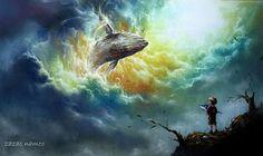 소년의꿈^___^ #환타지그림 #초현실주의 #landscape #hope #drawing #fantasize #소년 #꿈  #희망 #드로잉 #구름 #고래 #picture #pastel #creator #contents #자작나무 #맞팔 #painting #소망
