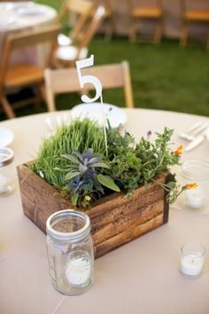 #reception #centerpieces #flowers herbs from shenadoah (at greenmarket) in the little boxes