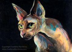 intense sphynx cat painting svetlana novikova C