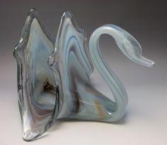 Cherokee Wagon Hill Hand Blown Art Glass Swan Napkin Holder Blue Purple Slag USA #WagonHill