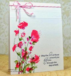 By Karen Dunbrook. Ink stamp with markers or corners of pads. Spritz. Stamp. The result is a watercolor look. Add scored lines, twine, and sentiment.