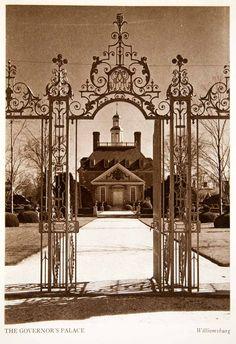 1947 Photogravure Governor's Palace Williamsburg Virginia Gate Mansion XGXB2