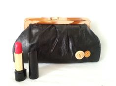 Trousse à maquillage ou pochette de sac noire - années 70 : Trousses par monsacvintage
