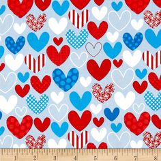Designed by Doohickey Designs for Riley Blake, this cotton print is perfect for quilting, apparel and home decor accents.  Colors include red, white and blue.