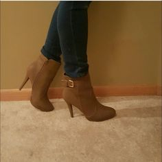 Khaki Platform bootie The accented gold buckle gives it that perfect shine your looking for Heel height 4 3/4 Shoes Heels