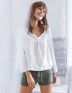 Aerie Frayed Peasant Top, Glacier Gray   Aerie for American Eagle