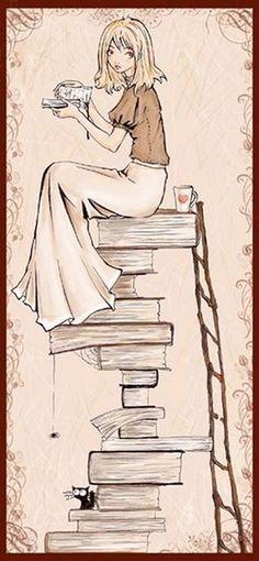 Books and Tea Illustration Tea And Books, I Love Books, Books To Read, Reading Art, Girl Reading, Reading Books, Image 3d, World Of Books, Book Nooks