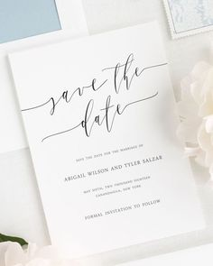 Romantic Calligraphy Save the Date Cards