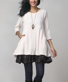 Another great find on #zulily! Winter White Cable-Knit Side-Pocket Layered Tunic by Reborn Collection #zulilyfinds