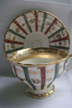 Biedermeiertasse Prunktasse reiches Banddekor Vergoldung handbemalt in Antiquitäten & Kunst, Porzellan & Keramik, Porzellan | eBay