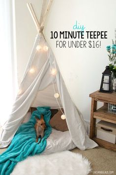 DIY 10 minute teepee for under $16! Full tutorial on sweetteal.com. Super easy! #teepee #tipi #diy #cheapdiy