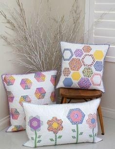 """Hexology Cushion Trio"" designed by Jemima Flendt for Tied With A Ribbon."