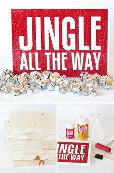 """Mod Podge """"Jingle All the Way"""" Sign + Gift - Paging Supermom Christmas Time Is Here, Christmas And New Year, Winter Christmas, All Things Christmas, Christmas Wood, Christmas 2014, Christmas Ideas, Merry Christmas, Christmas Signs"""
