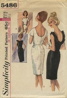 Vintage Sewing Pattern | Little Black Dress | Simplicity 5486 | Year 1964 | Bust 34 | Waist 26 | Hip 36
