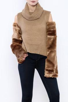 Shoptiques Product: Faux Fur Sleeve Sweater - main