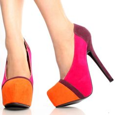 Pink-Suede Color Block Pointy Toe Womens High Heel Platform Shoes