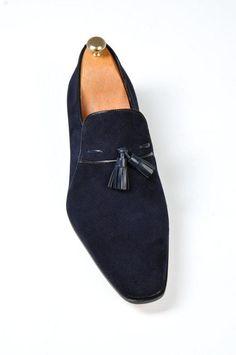afcc886a34b Men Blue Loafer Tassel Suede Leather Shoes