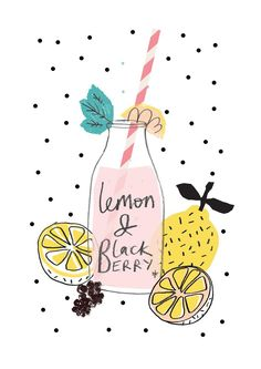 lemon and blackberry, drawing, drink, fruit, summer, illustration, food
