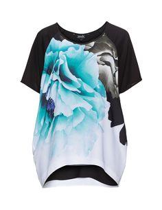navabi Printed oversized t-shirt in Black / Turquoise