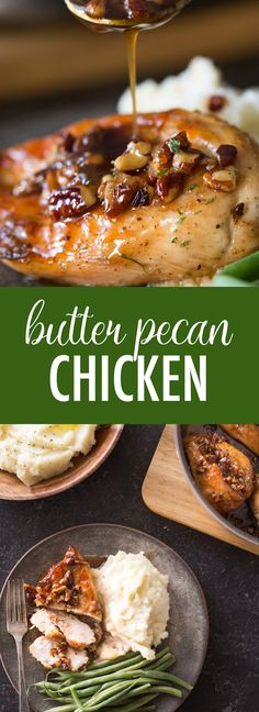 This super easy Butter Pecan Chicken comes together quickly .- This super easy Butter Pecan Chicken comes together quickly in one skillet, and doesn't have a lot of ingredients. Definitely a winner! Chicken Thights Recipes, Paleo Chicken Recipes, Shredded Chicken Recipes, Paleo Recipes Easy, Cooking Recipes, Steak Recipes, Cooking Ideas, Meatloaf Recipes, Keto Chicken