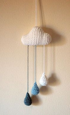 should try this as a wind chime - but with a grey cloud, and another one in white with rainbow chimes