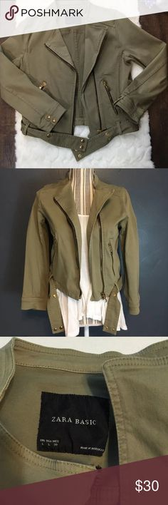 Zara Women's green moto jacket Zara jacket in great condition and has some stretch to it. Size Large (runs a little small in my opinion) will fit a size Medium  Price is Firm. Zara Jackets & Coats