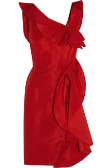 Oscar de la Renta Ruffled silk-faille dress | THE OUTNET