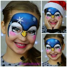 Learn how to face paint a cute Christmas penguin design One of the most popular animal face painting for kids. Watch the full video tutorial on my YouTube channel. #facepainttutorial #howtofacepaint