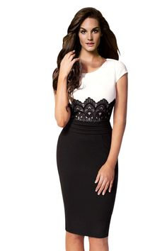 Ninimour Celebrity Inspired Boutique Lace Details Patchwork Dress at Amazon Women's Clothing store: