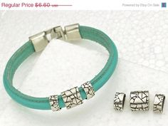 20% OFF 3-pc Silver Crackled Mosaic Patterned Spacer for Half-Round 10mm Leather Cord