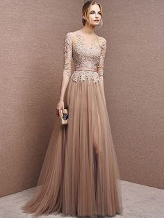 Modest Scoop Neck Tulle Sweep Train Appliques Lace 1/2 Sleeve Prom Dress - pickedresses.com