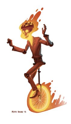 Mike Bear: Sketchbook ghost rider on unicycle Comic Character, Character Concept, Concept Art, Ghost Rider, Avengers, Spiderman, Unicycle, Dead Pool, Comic Art