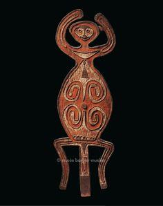 Figure anthropomorphique, Mélanésie,golfe de Papouasie. / Arts de Nouvelle-Guinée. / Musée Barbier-Mueller, Genève.