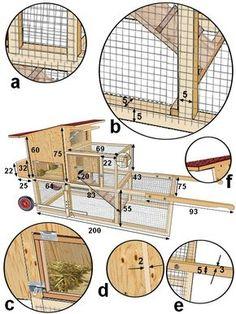 plan de montage détaillé du tracteur à poules Chicken Barn, Chicken Cages, Best Chicken Coop, Backyard Chicken Coops, Chicken Coop Plans, Building A Chicken Coop, Chicken Runs, Chickens Backyard, Chicken Houses