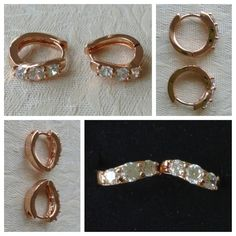 9K rose gold-filled hoop earrings with CZ bling (also comes in yellow gold) @ AUD$12.00 + postage or local pick up available (2 in stock)