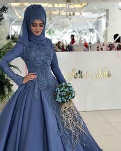 Vintage Blue Lace Muslim Plus Size Wedding Dress with Sleeves Ball Gown Princess Bridal Gowns Arabic Wedding Dresses Dubai 2018 - size wedding dresses blue Muslim Wedding Gown, Arabic Wedding Dresses, Muslimah Wedding Dress, Blue Wedding Dresses, Muslim Dress, Plus Size Wedding Dresses With Sleeves, Muslim Brides, Muslim Girls, Muslim Women