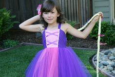 RAPUNZEL costume dress TUTU dress style for toddlers and girls fun for special occasion or birthday party costume. $52.00, via Etsy.