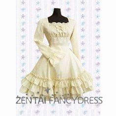 Charming Long Sleeves Three Layers Suqare Collar Ivory Classic Lolita Fancy Dress