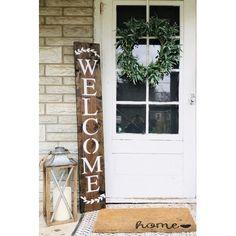 Outdoor Welcome Sign, Welcome Signs Front Door, Front Porch Signs, Front Door Decor, Front Porch Decorations, Front Doors, Fromt Porch Decor, Diy Front Porch Ideas, Outdoor Decorations