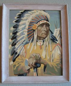 vintage paint by number Indian chief with headdress.